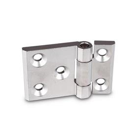 GN 237.3 Stainless Steel-Heavy duty hinges, horizontally elongated Material: NI - Stainless Steel<br />Type: A - with bores for countersunk screws<br />Finish: GS - matte shot-blasted