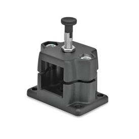GN 147.7 Locking slide units Identification No.: R - with indexing plunger<br />Finish: SW - black, RAL 9005, textured finish