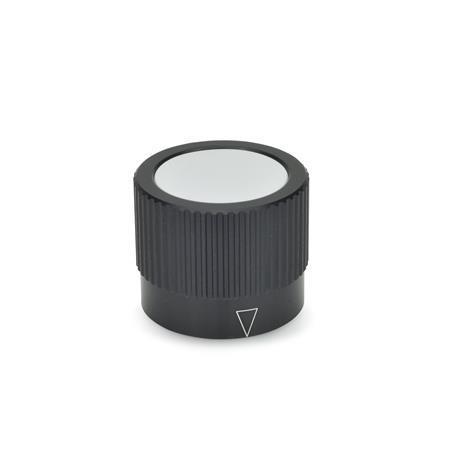 GN 726.1 Drehknöpfe, Aluminium, schwarz eloxiert Form: A - mit Markierungspfeil Kennziffer: 1 - mit Druckschraube