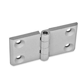 GN 237 Hinges, horizontally elongated, zinc die casting Werkstoff: ZD - Zinc die casting<br />Type: A - 2x2 bores for countersunk screws<br />Finish: SR - silver, RAL 9006, textured finish<br />Hinge wings: l3 = l4 - elongated on both sides