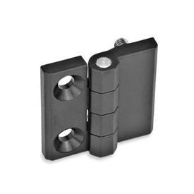 GN 237.1 Scharniere, Kunststoff Form: D - 2x Bohrungen für Senkschrauben / 2x Gewindestifte