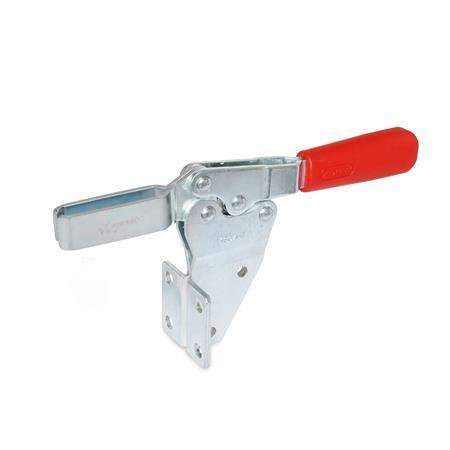 GN 820.2 Cepos de palanca, palanca de accionamiento horizontal, con montaje lateral Tipo: MF - Brazo de sujeción en horquilla con dos arandelas embridadas