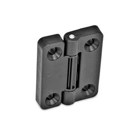GN 222 Hinges with 4 indexing positions, Plastic Type: SH - 2x2 bores for countersunk screws