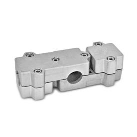 GN 195 T-Angle connector clamps, Aluminium Bore d<sub>1</sub>: B 40<br />Identification No.: 2 - with 6 Stainless Steel-clamping screws DIN 912<br />Finish: BL - blank