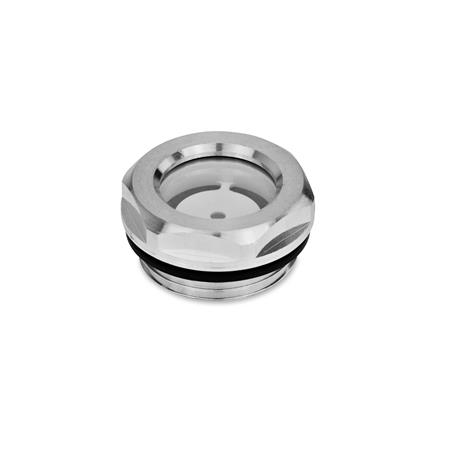 GN 743 Ölschaugläser, Aluminium / Floatglas, beständig bis 100 °C, blank Form: A - mit Reflektor, blank