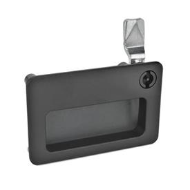 GN 115.10 Latches with gripping tray Type: VDE - Operation with double bit<br />Finish: SW - black, RAL 9005, textured finish<br />Identification no.: 2 - Operation, in drawn position, at the top right