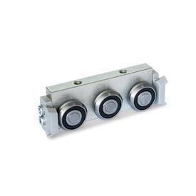 GN 2424 Rollenläufer Form: R - Radial-Rollenläufer, seitliche Anordnung<br />Ausführung: X - mit Abstreifer für Festlager-Laufschiene (X-Schiene)