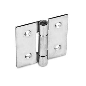GN 136 Edelstahl-Blechscharniere, quadratisch oder vertikal verlängert Werkstoff: NI - Edelstahl<br />Form: C - mit Senkbohrungen