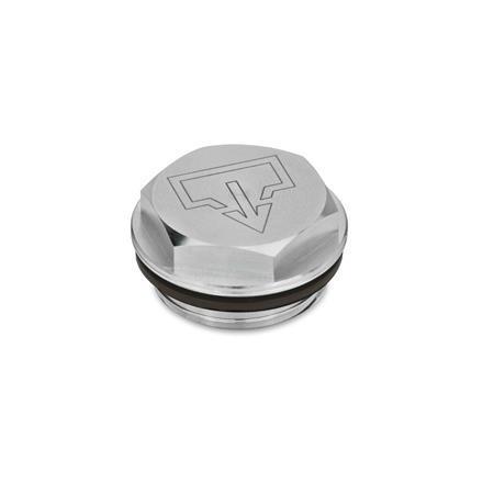 GN 742 Verschlussschrauben mit und ohne Symbol, Viton-Dichtung, Aluminium, beständig bis 180 °C, blank Form: AS - mit DIN-Ablasssymbol, blank Entlüftungsbohrung: 1 - ohne Entlüftungsbohrung