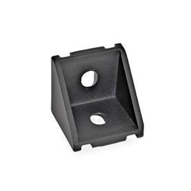GN 961 Cornières pour systèmes de profilés 30/40, aluminium Type de cornière: A - sans kit d'assemblage, sans cache<br />Finition: SW - noir, RAL 9005, finition texturée