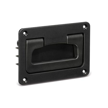 GN 825.2 Folding handles with recessed tray, Plastic Color: SW - black, RAL 9005, matte