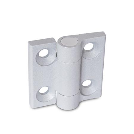 GN 437.3 Hinges, Zinc die casting, with spring-loaded return Type: R2 - Spring-loaded return, opening, medium spring force Color: SR - silver, RAL 9006, textured finish