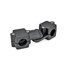 GN 289 Swivel clamp connector joints, two-part clamp pieces Bore d<sub>1</sub>: B 45<br />Type: S - stepless adjustment<br />Identification no.: 2 - with 5 Stainless Steel-clamping screws DIN 912<br />Finish: SW - black, RAL 9005, textured finish
