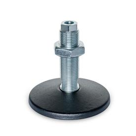 GN 37 Machine Feet, with Central Fastening Hole Type (Foot plate): A - Without rubber pad