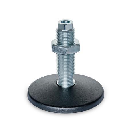 GN 37 Pieds de machine avec trou de fixation central Type (plaque d'assise): A - sans tampon en caoutchouc