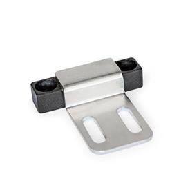 GN 4470 Magnetverschlüsse, mit gummierter Haftfläche Form: C1 - Haftfläche seitlich, mit Bohrung<br />Kennzeichen: Z3 - mit Anschlagblech, Z-Profil, mit Langloch, verlängert<br />Oberfläche: SW - schwarz, RAL 9005, strukturmatt