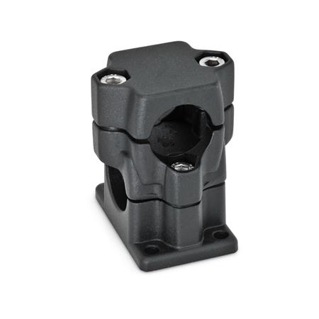 GN 141 Flanged two-way connector clamps, multi part assembly Bore d<sub>1</sub>: B 40 Finish: SW - black, RAL 9005, textured finish