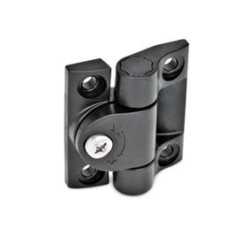 GN 233 Hinges with adjustable friction, Plastic Color: SW - black, RAL 9005, matte
