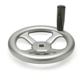 GN 227.2 Handwheels, pressed Stainless Steel, AISI 304 (A2) Bore code: V - with square<br />Type: D - with revolving handle