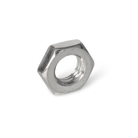 ISO 8675 Écrous à 6pans en inox de forme basse, avec filetage métrique fin Matériau: NI - AISI304 (A2)