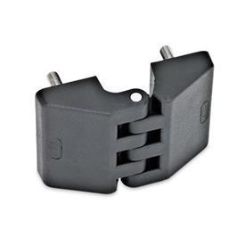 GN 155 Hinges, Plastic Type: C - 2x2 threaded studs
