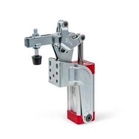 GN 862 Toggle Clamps, Pneumatic, with Angled Base Type: CPV - Forked clamping arm, with two flanged washers and clamping screw GN 708.1