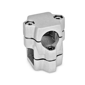 GN 134 Two-way connector clamps, multi part assembly, same bore dimensions d<sub>1</sub> / s<sub>1</sub>: B - Bore<br />d<sub>2</sub> / s<sub>2</sub>: V - Square<br />Finish: BL - blank, tumbled