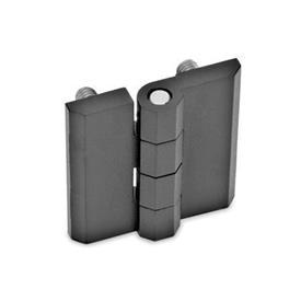GN 237 Scharniere, Zink-Druckguss / Aluminium Werkstoff: ZD - Zink-Druckguss<br />Form: C - 2x2 Gewindestifte<br />Oberfläche: SW - schwarz, RAL 9005, strukturmatt