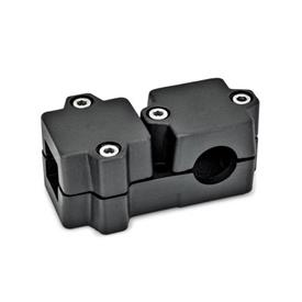 GN 194 Abrazaderas de conexión en ángulo, aluminio d<sub>1</sub> / s<sub>1</sub>: V - Orificio cuadrado<br />d<sub>2</sub> / s<sub>2</sub>: B - Orificio redondo<br />Acabado: SW - negro, RAL 9005, acabado texturado