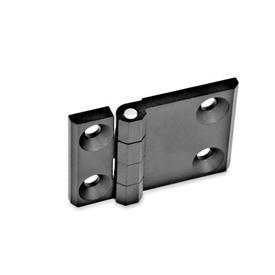 GN 237 Hinges, horizontally elongated, zinc die casting Werkstoff: ZD - Zinc die casting<br />Type: A - 2x2 bores for countersunk screws<br />Finish: SW - black, RAL 9005, textured finish<br />Hinge wings: l3 ≠ l4 - elongated on one side