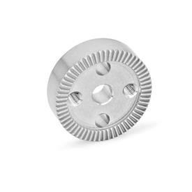 GN 187.4 Serrated Locking Plates, Stainless Steel Type: D - With drilling in the center, with two tapped mounting holes