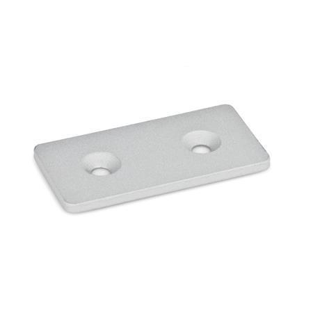 GN 967 Winkel, Laschen Winkelform: F - Lasche Oberfläche: SR - silber, RAL 9006, strukturmatt Kennziffer: 1 - mit Bohrung für Senkschrauben DIN 7991