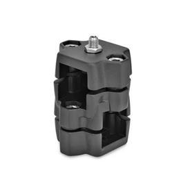 GN 134.7 Rastschlitten, Aluminium Kennziffer: D - mit federndem Druckstück<br />Oberfläche: SW - schwarz, RAL 9005, strukturmatt