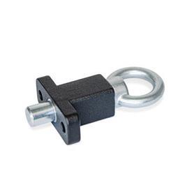 GN 722.5 Doigts d'indexage avec bride pour montage en surface, perpendiculaires à la goupille de centrage Type: A - avec anneau de traction<br />Finition: SW - noir, RAL9005, finition texturée