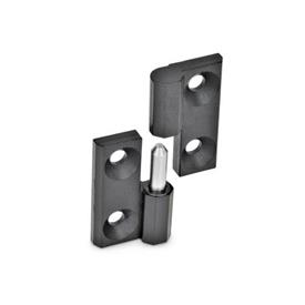 GN 337 Hinges detachable, Zinc die casting Material: ZD - Zinc die casting<br />Finish: SW - black, RAL 9005, textured finish<br />Identification no.: 2 - fixed bearing (pin) left