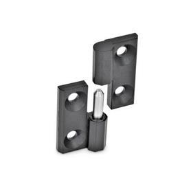 GN 337 Scharniere, aushängbar, Zink-Druckguss Werkstoff: ZD - Zink-Druckguss<br />Oberfläche: SW - schwarz, RAL 9005, strukturmatt<br />Kennziffer: 2 - festes Lager (Stift) links
