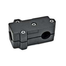GN 193 Abrazaderas de conexión en ángulo, aluminio d<sub>1</sub> / s<sub>1</sub>: B - Orificio redondo<br />d<sub>2</sub> / s<sub>2</sub>: B - Orificio redondo<br />Acabado: SW - negro, RAL 9005, acabado texturado