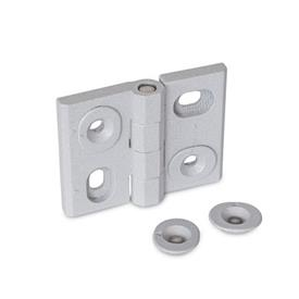 GN 127 Hinges, adjustable, Zinc die casting Type: HB - vertically and horizontally adjustable<br />Finish: SR - silver, RAL 9006, textured finish