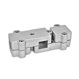GN 195 Abrazaderas de conexión en ángulo, aluminio d<sub>1</sub> / s: V - Orificio cuadrado<br />Acabado: BL - natural, granallado mate