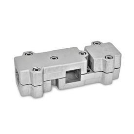 GN 195 Winkel-Klemmverbinder, Aluminium d<sub>1</sub> / s: V - Vierkant<br />Oberfläche: BL - blank, matt gestrahlt