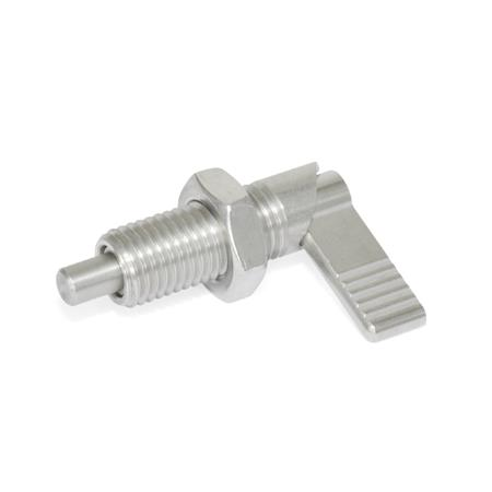 GN 721.6 Stainless Steel-Cam action indexing plungers, with locking function Type: LAK - Left-hand lock, with lock nut