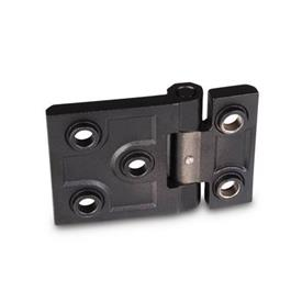 GN 237.3 Stainless Steel-Heavy duty hinges, horizontally elongated Material: NI - Stainless Steel<br />Type: B - with bores for countersunk screws and centering attachments<br />Finish: SW - black, RAL 9005, textured finish<br />Hinge wings: l3 ≠ l4 - elongated on one side