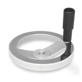 GN 322 Speichenhandräder, blank, Radkranz poliert Bohrungskennzeichnung: K - mit Nabennut<br />Form: R - mit drehbarem Griff