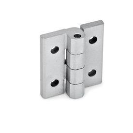 GN 235 Scharniere, justierbar, Zink-Druckguss Werkstoff: ZD - Zink-Druckguss<br />Form: D - mit Durchgangsbohrungen<br />Oberfläche: SR - silber, RAL 9006, strukturmatt