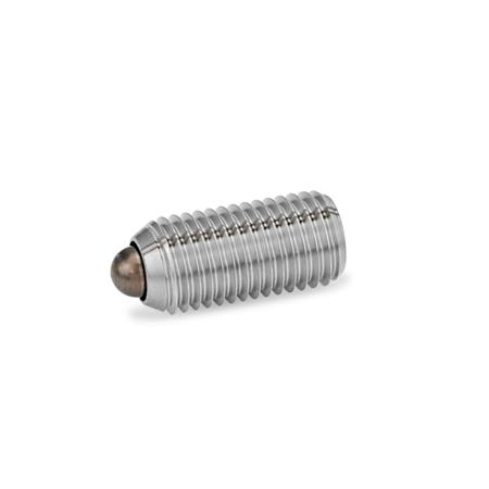 GN 615.4 Federnde Druckstücke, mit Bolzen, mit Innensechskant, Stahl / Edelstahl Form: BSN - Edelstahl, verstärkter Federdruck
