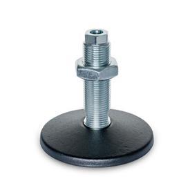 GN 37 Pieds de machine avec trou de fixation central Type (plaque d'assise): C - avec joint torique