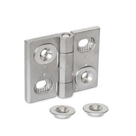 GN 127 Stainless Steel-Hinges, adjustable Material: A4 - Stainless Steel<br />Type: B - horizontally adjustable
