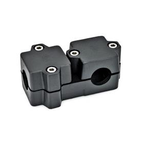 GN 194 T-Angle connector clamps, Aluminium Bore d<sub>1</sub>: B 40<br />Finish: SW - black, RAL 9005, textured finish<br />Identification No.: 2 - with 4 Stainless Steel-clamping screws DIN 912