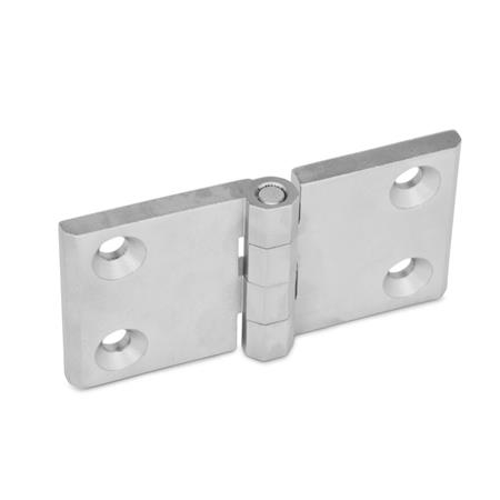 GN 237 Stainless Steel-Hinges, horizontally elongated Finish: GS - matte shot-blasted