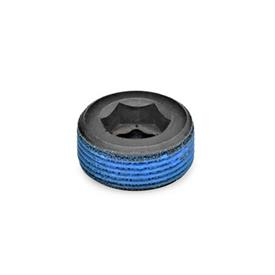 GN 252 Blanking plugs, Steel Type: PRB - with thread coating (polyamide allround coating)